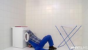 MMV FILMS German Mom draining the plumber