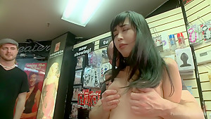 Japanese Whore Publicly Fucked in Dirty Movie Theater