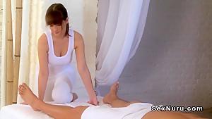 Busty masseuse wanking off cock till orgasm