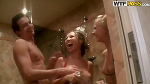 Abbey goes to the sauna along with horny hot couple