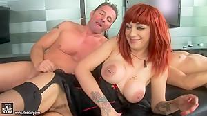 Whorish redhead Mai Bailey enjoys in threesome sex