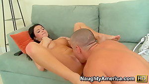 Brunette sucking deep and smacking fat dick
