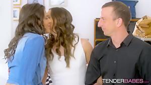 Lesbian sluts Amirah Adara and Verona Sky lick each other