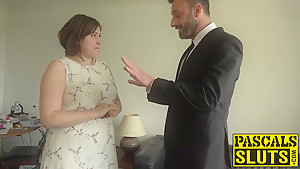Chubby lady Laura Louise gets mouth fucked and rough sex