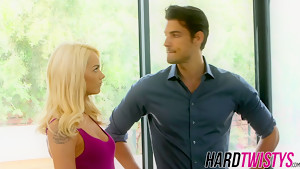 Blonde cutie Elsa Jean has fun with a hunk by blowing him