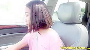 Horny thai teen Aria Skye fucks hard for a car ride