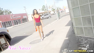 Ebony Teen Nia Nacci Takes White Cock At A Gloryhole