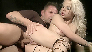 A little BDSM with his slave who he makes blow him and open up her cunt