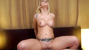 Buxom blonde Marsha May impales herself on her stepbrother's long pole