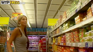 Blonde gal Nessa Devil on a shopping trip