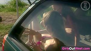 Girls Out West - Slender lesbians licking assholes