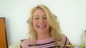 Beautiful babe Natasha Starr teasing her big jubbies