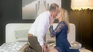 Chubby mature blonde fucks big cock