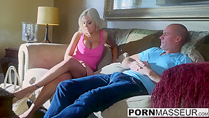 Horny blonde babe Nina Elle cant resist taking masseurs cock
