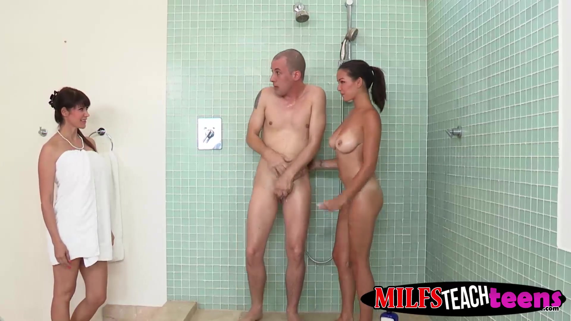Beauty brunettes Shae and Eva get some action in the shower